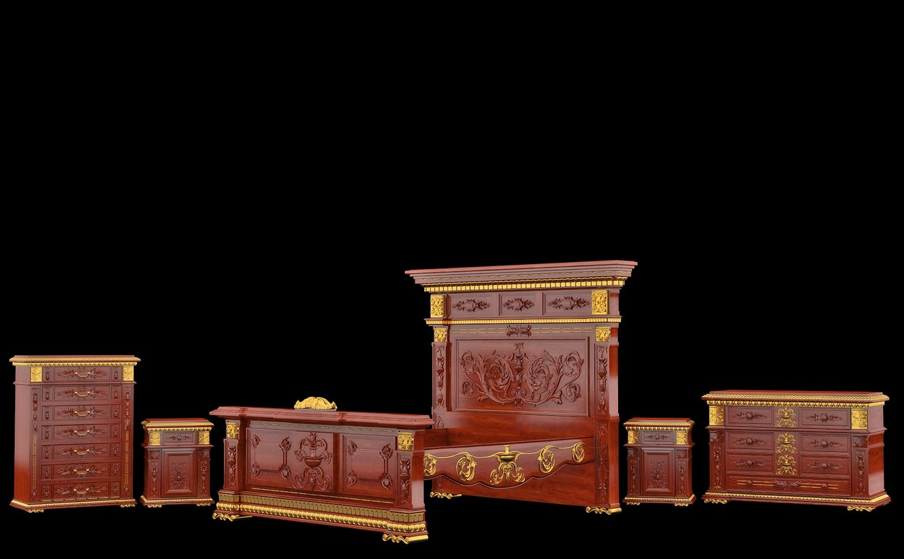 Classical antiquarian bedroom set in style Renaissance