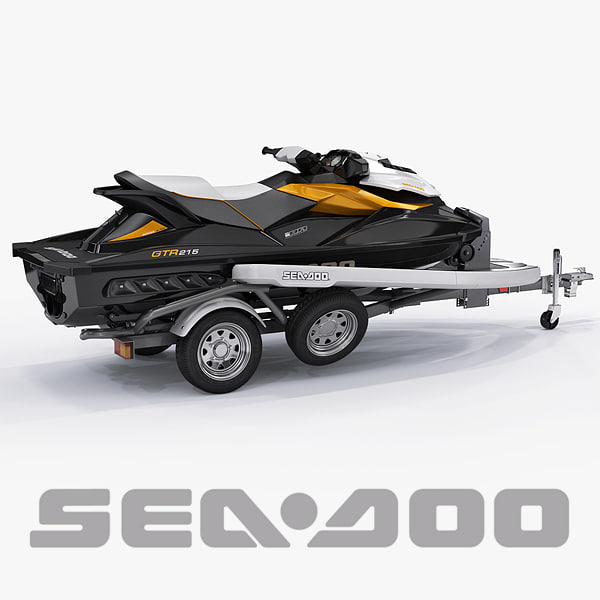 Sea-Doo GTI 215 and trailer 3D Models