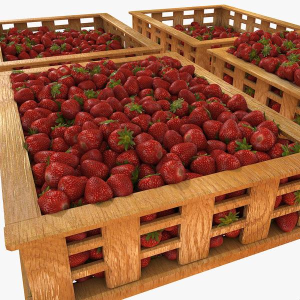 Strawberry Fruit Crates Case Market Store Shop Convenience General Grocery Greengrocery Detail Prop Fair Plantation Jungle South Plant Garden Greenhouse 3D Models