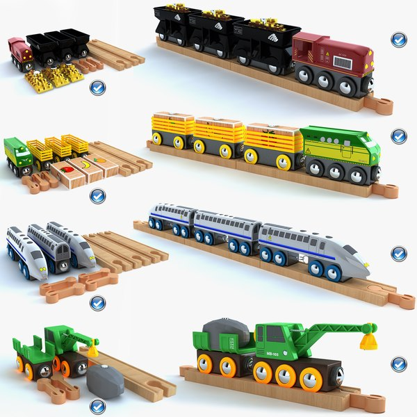 Kids train toy collection 3D Models