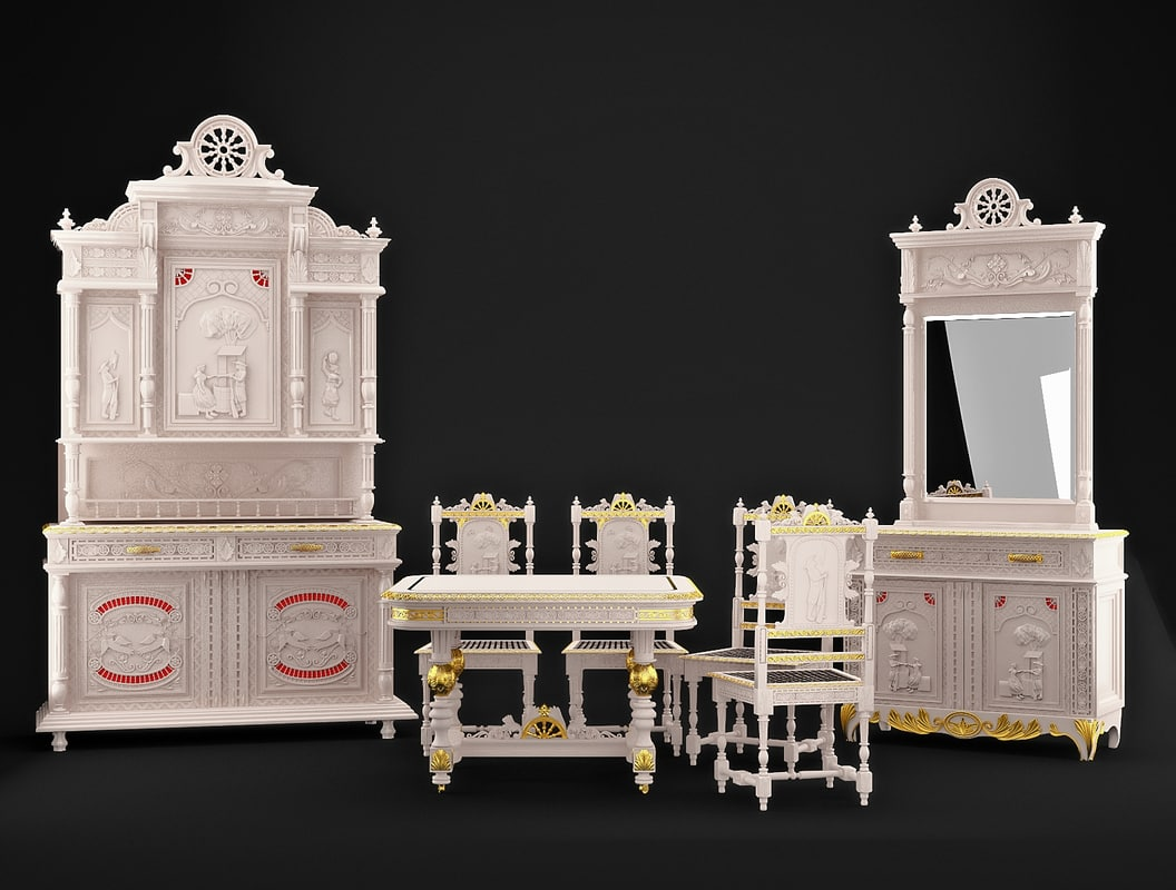 Set of an antiquarian classical Breton dining room furniture.