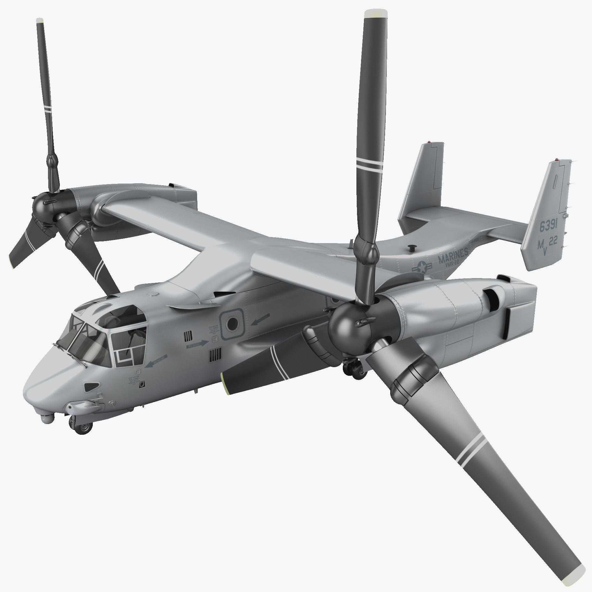 Military Tiltrotor Aircraft MV-22 Osprey Rigged