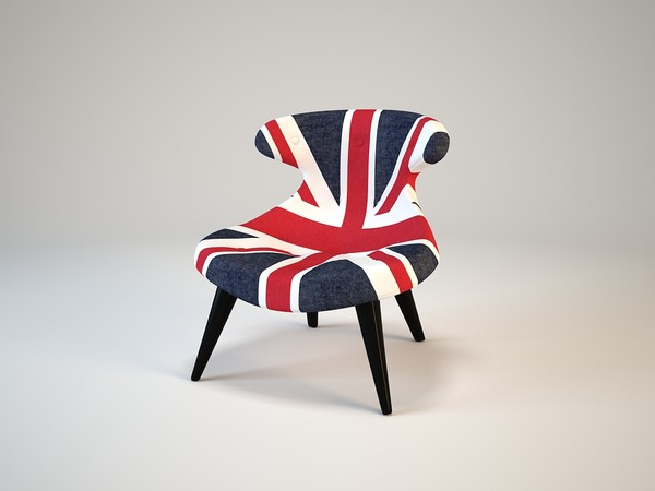 Andrew Martin Gund Chair Union Jack Denim Texture Maps