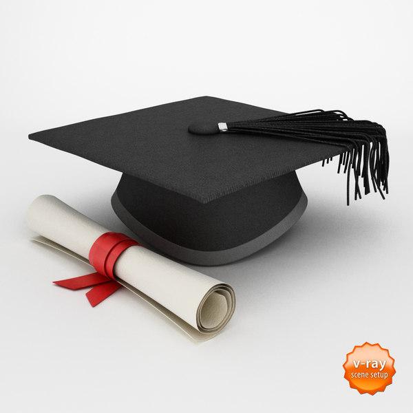 Graduation cap and diploma 3D Models