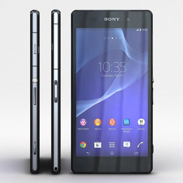 Sony Xperia Z2 Black 3D Models