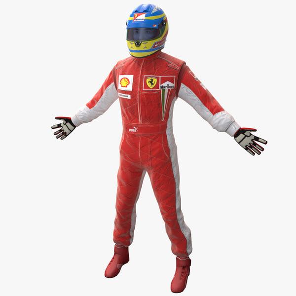 Racing Driver Ferrari Rigged 3D Models