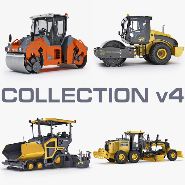 Collection road construction equipment engineering machine industrial transport build x-machine 3D Models