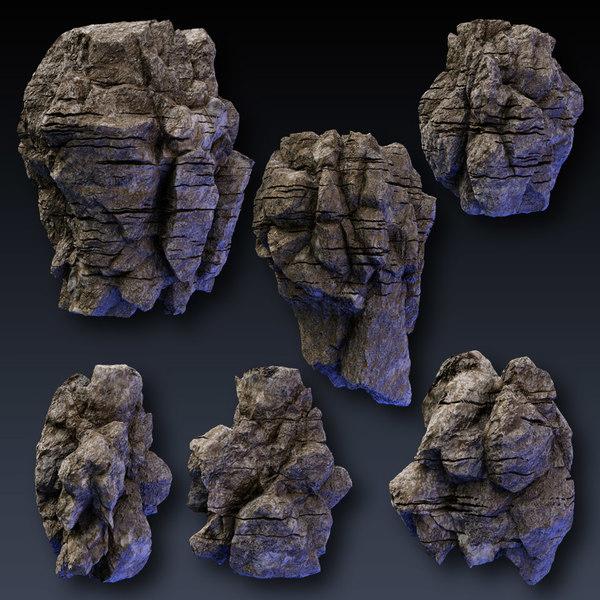 Rock Face & Cliff Blocks 3D Models