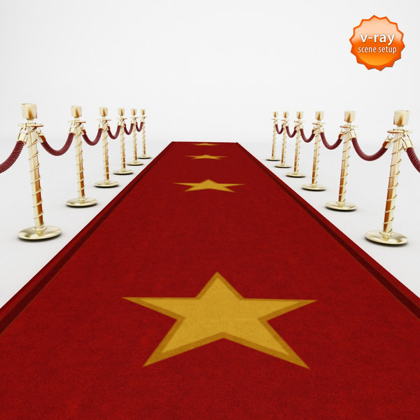Red carpet and velvet ropes 3D Models