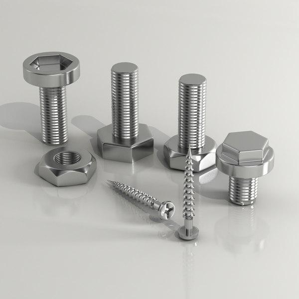 Nuts and nailes 3D Models