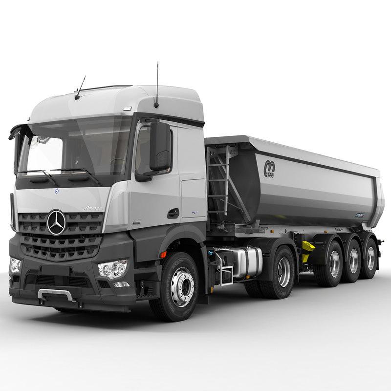 3d model of mercedes arocs tipper trailer. Black Bedroom Furniture Sets. Home Design Ideas