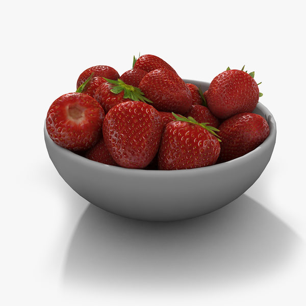 Strawberry Fruit Collection Set Berry Garden Red Juicy Succulent Bowl Plate 3D Models