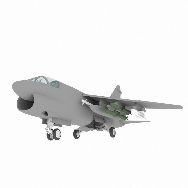 A7D Corsair 2 US Ground Strike Plane Game Model