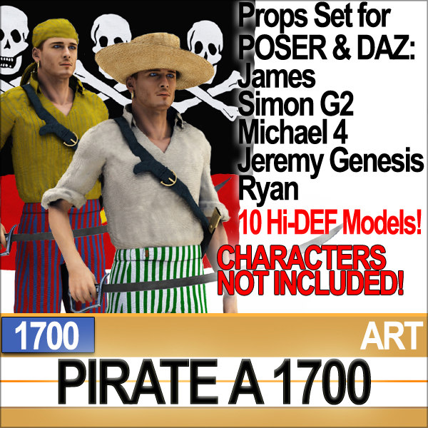 Props Set Poser Daz for Pirate A 1700