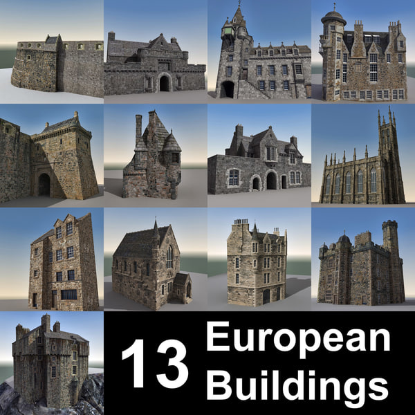 13 European Buildings 3D Models