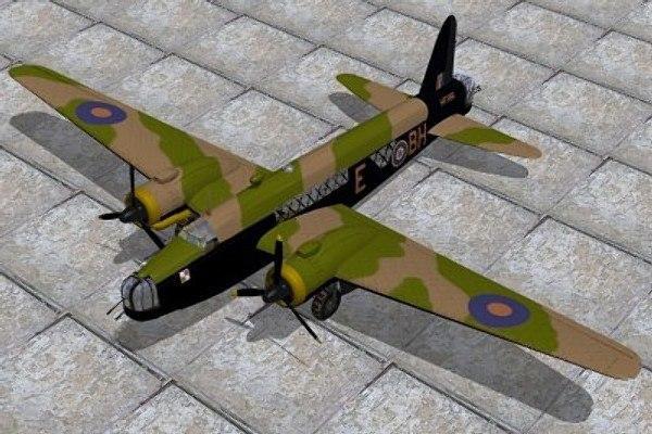 raf wellington bomber 3d model