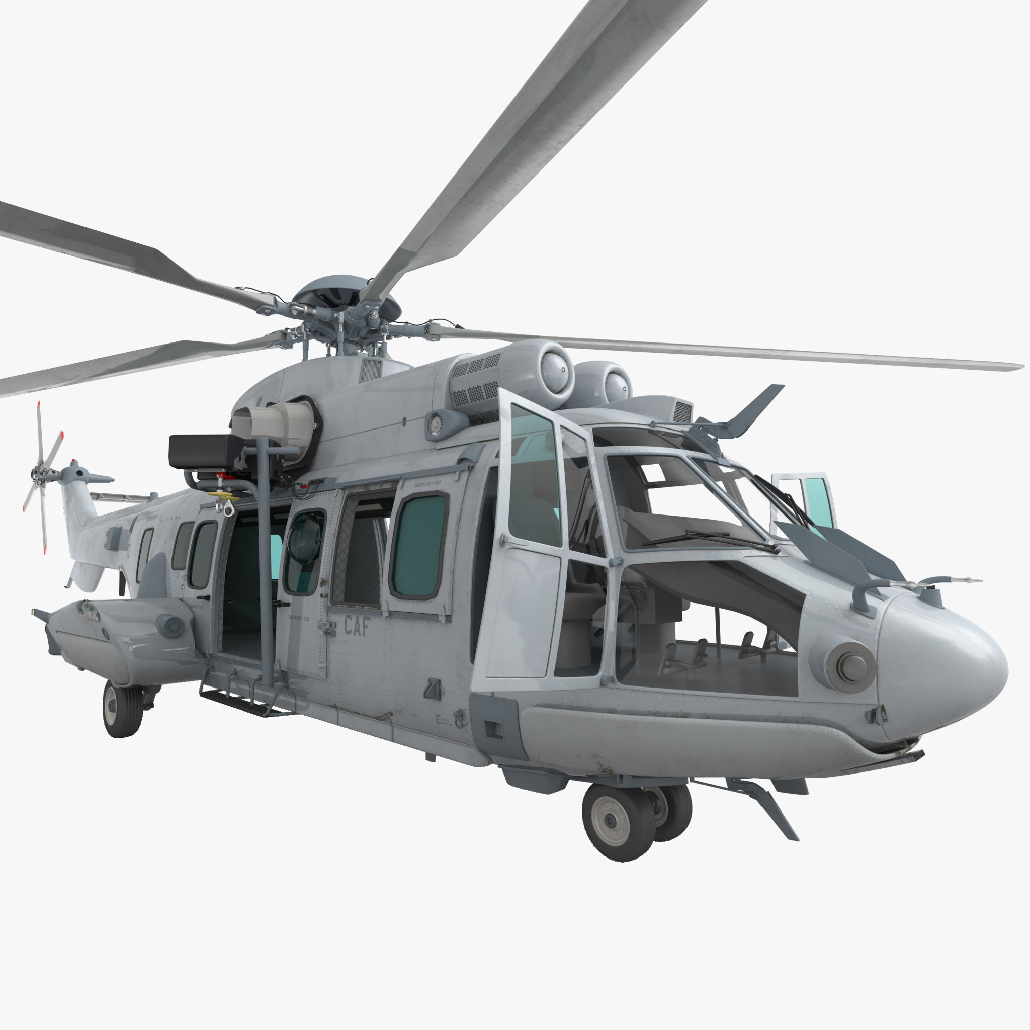 Eurocopter EC725 Caracal Tactical Transport Helicopter Rigged 6