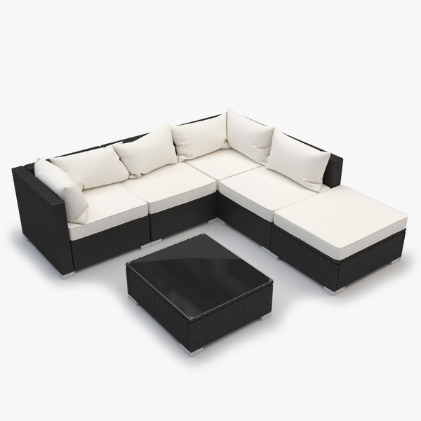 Outdoor Sectional Rattan Furniture Set - corner, armless, ottoman, coffee table 3D Models