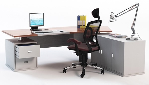 Computer Desk with Chair & Props 3 3D Models