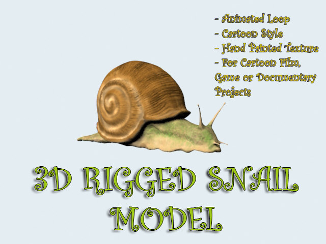 3D SNAIL MODEL RIGGED ANIMATED