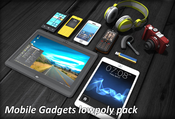 Mobile Gadgets lowpoly pack 3D Models