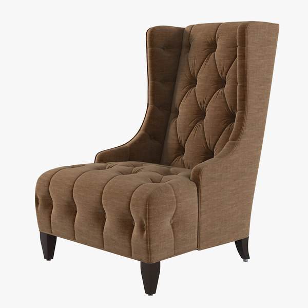 Celine Tufted Wing Chair 3D Models