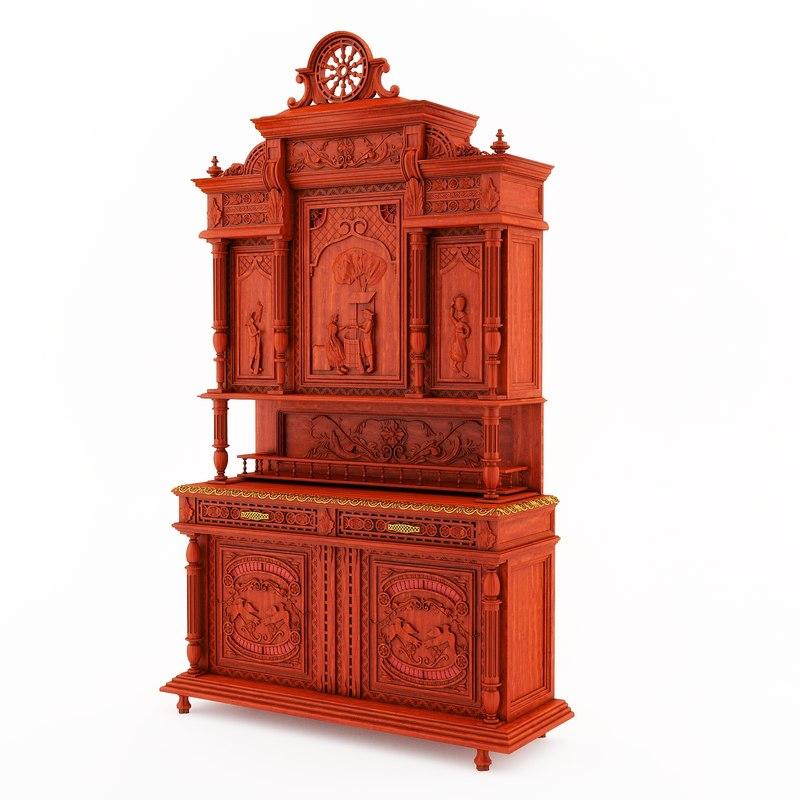 Classical antique furniture Breton dining room buffet