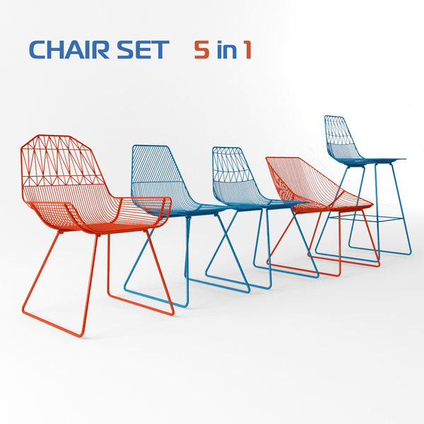 Bend Chairs set 3D Models