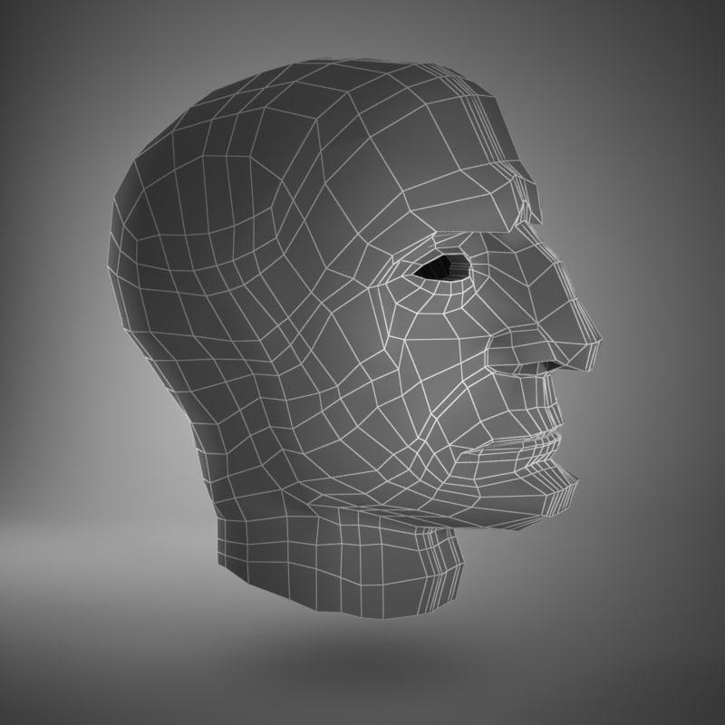 3d old man head