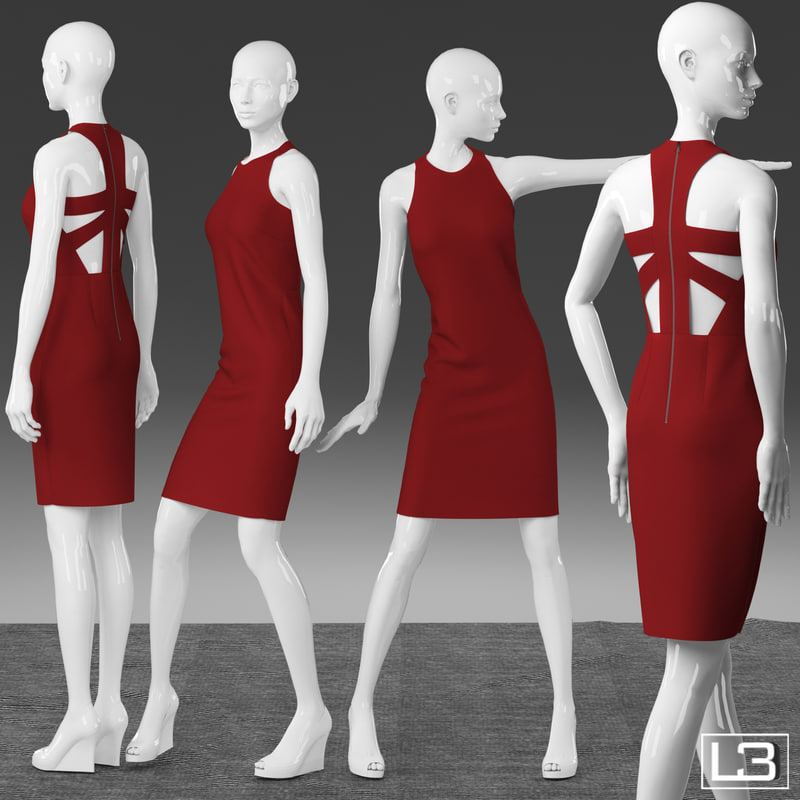 3d fbx woman mannequin clothes