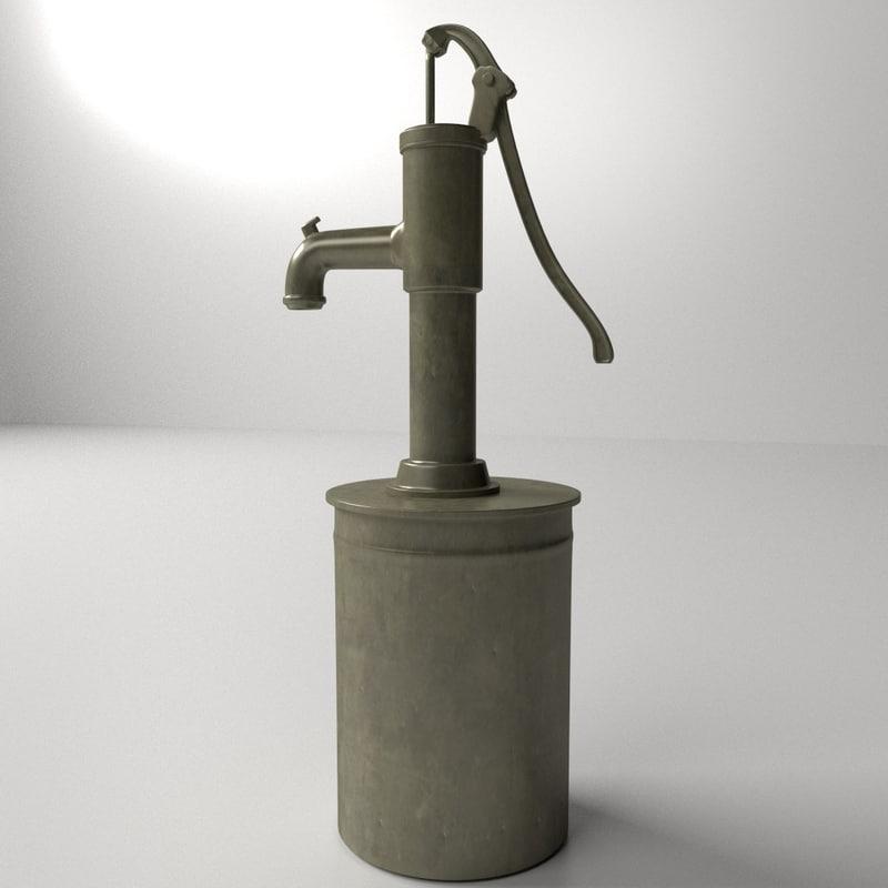 Water Pump 3d Model 3d Model Vintage Water Pump