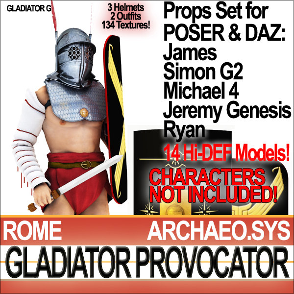 Props Set Poser Daz for Roman Gladiator Provocator