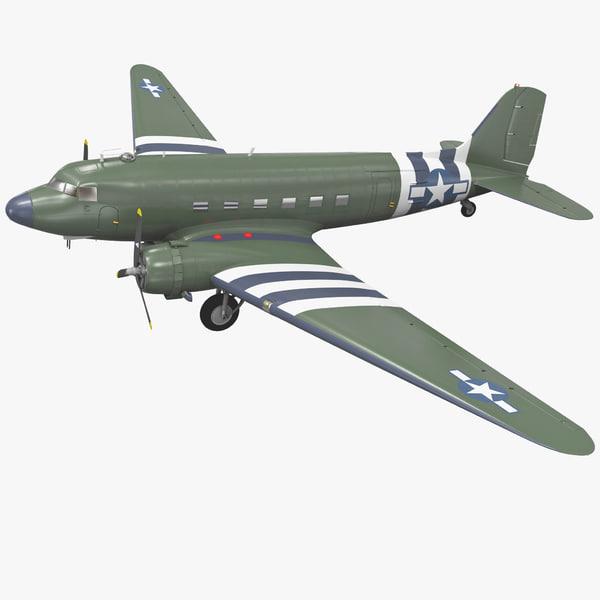 Military Transport Aircraft Douglas C-47 Skytrain 3D Models