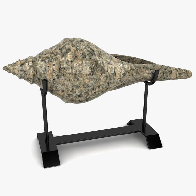 shell sculpture stand 3d 3ds