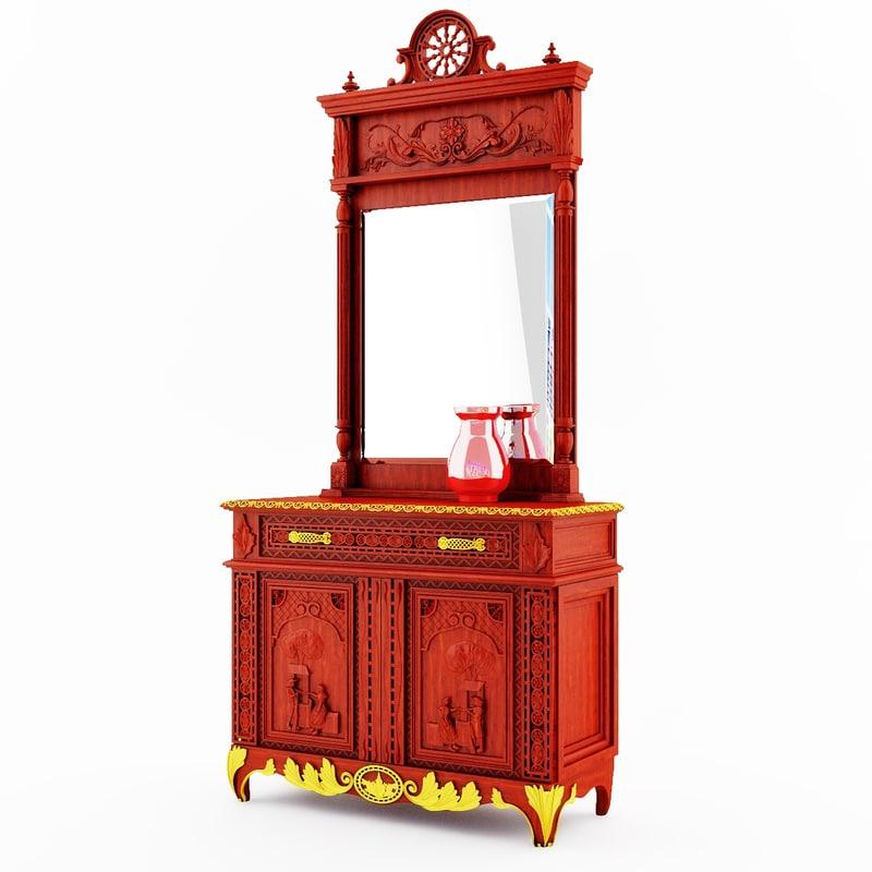 Classical antique furniture Breton dresser with a mirror