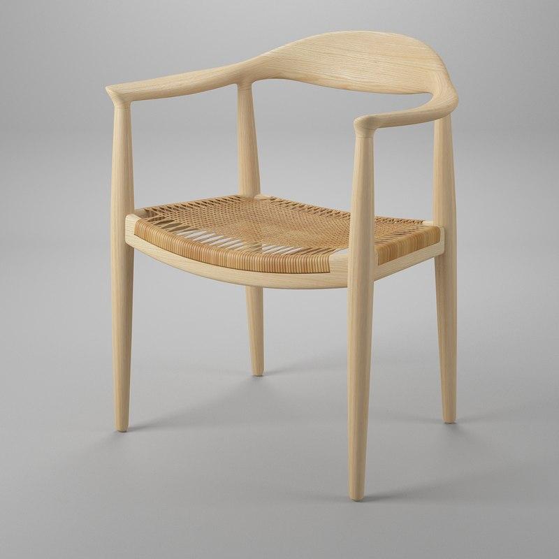 hans wegner wicker chair 3d model