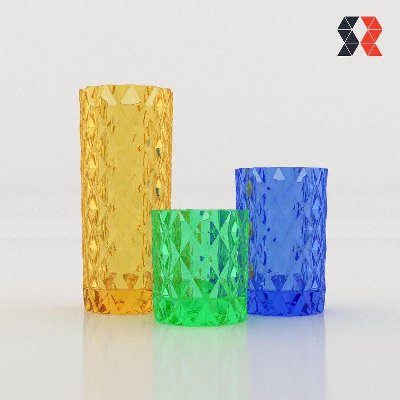 Diamond Cut Vases