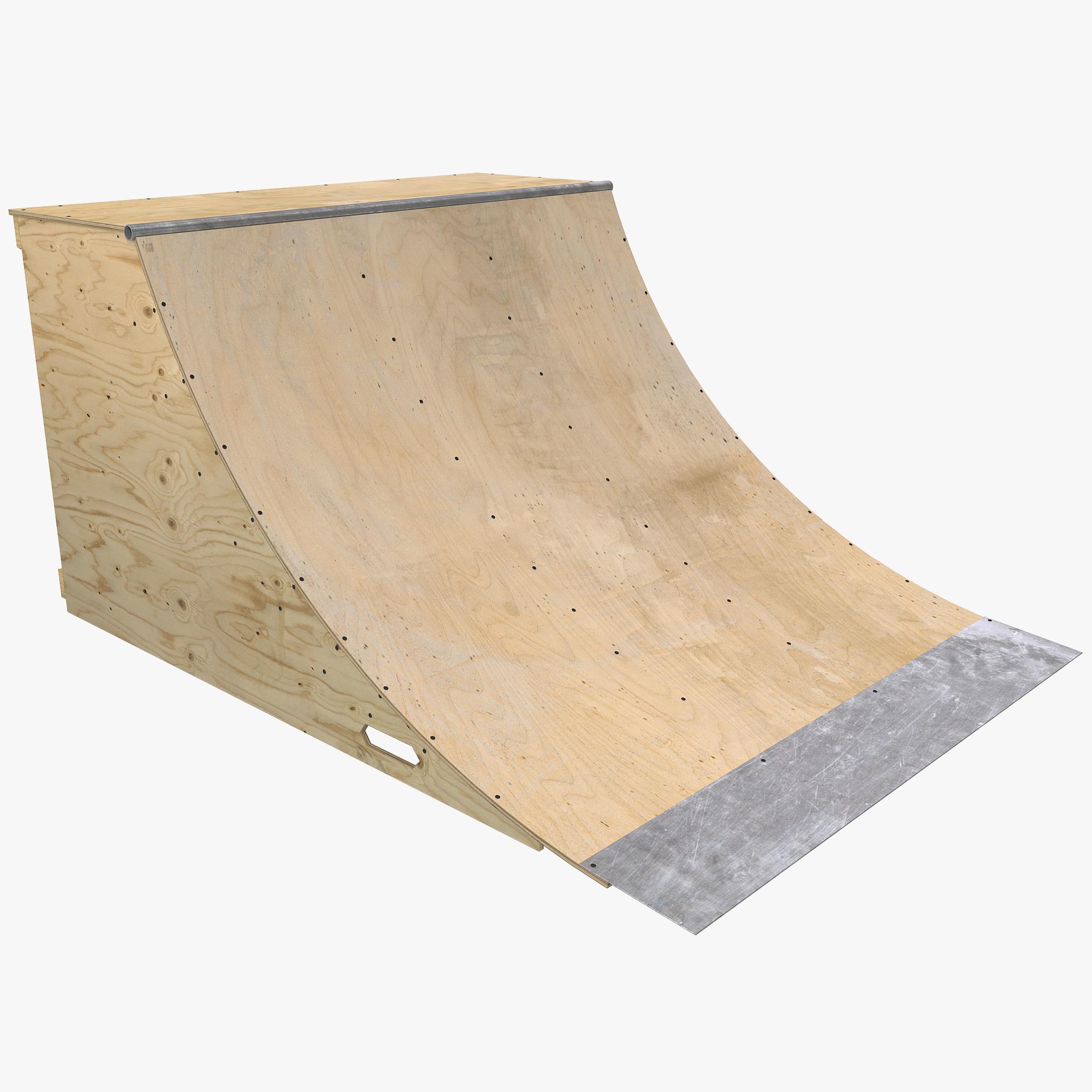 Skate+Ramps 3d model of quarter pipe skate ramp