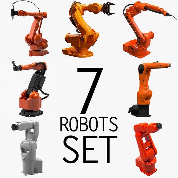 7 Industrial Robots Set 3D Models
