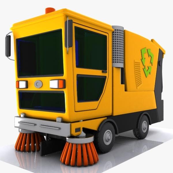 cartoon street sweeper 3d max