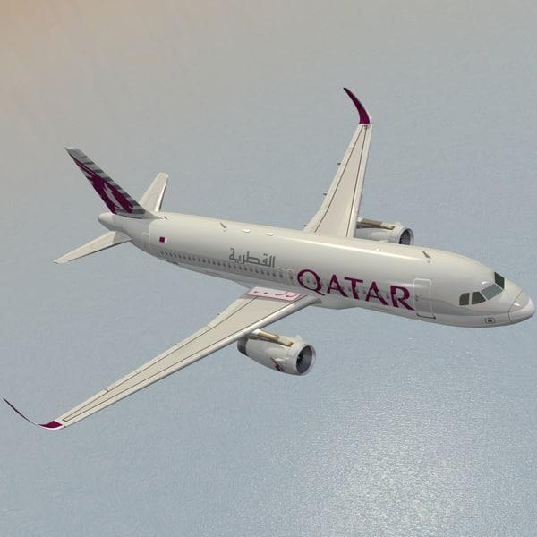 A320neo Qatar Airways 3D Models