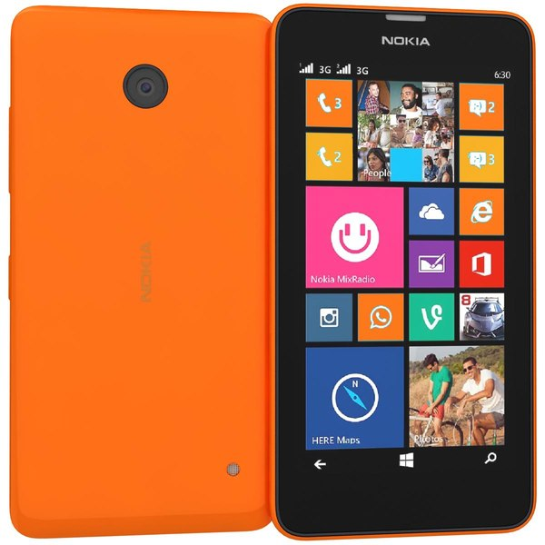 Nokia Lumia 630 635 Dual SIM Bright Orange 3D Models
