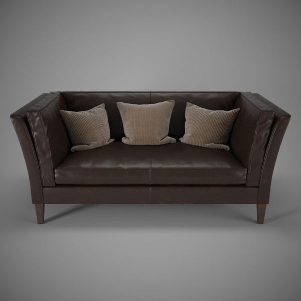 Crate & Barrel - Brooks Leather Settee 3D Models