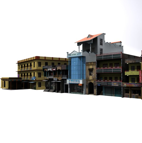 Group of Indian Buildings Low Poly 3D Models