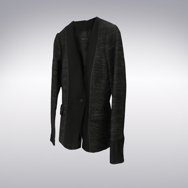 Men's Long Sleeve Medium Long Cardigan Dark Gray Black - 3D Scanned 3D Models