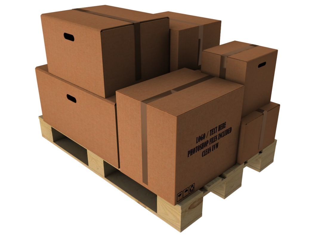 warehouse cardboard and europallet