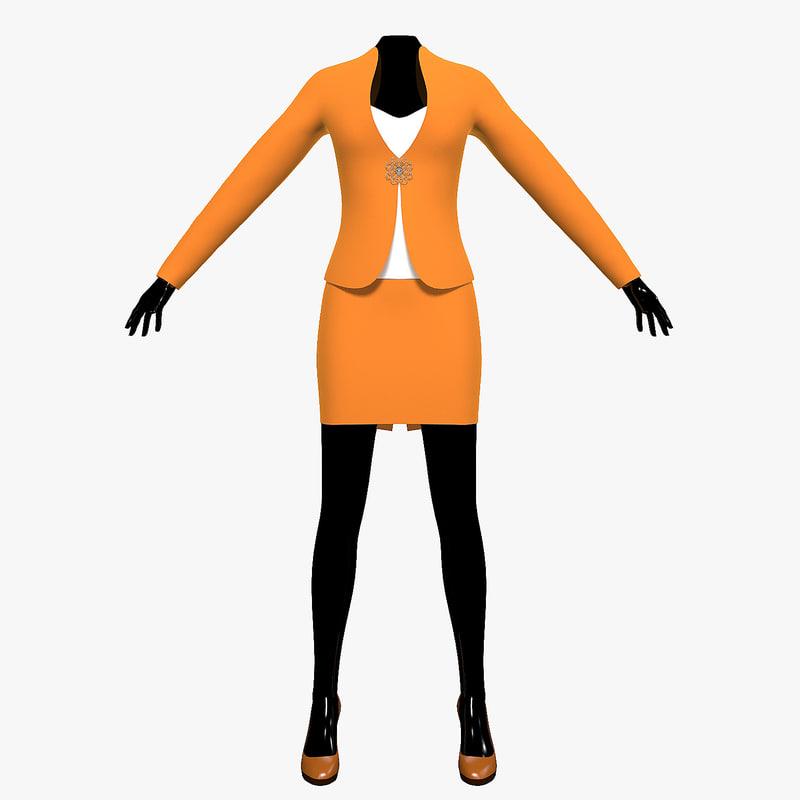 suit female mannequin obj