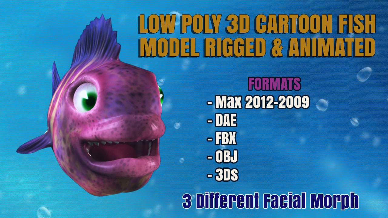 CARTOON FISH LOW POLY 3D MODEL RIGGED & ANIMATED