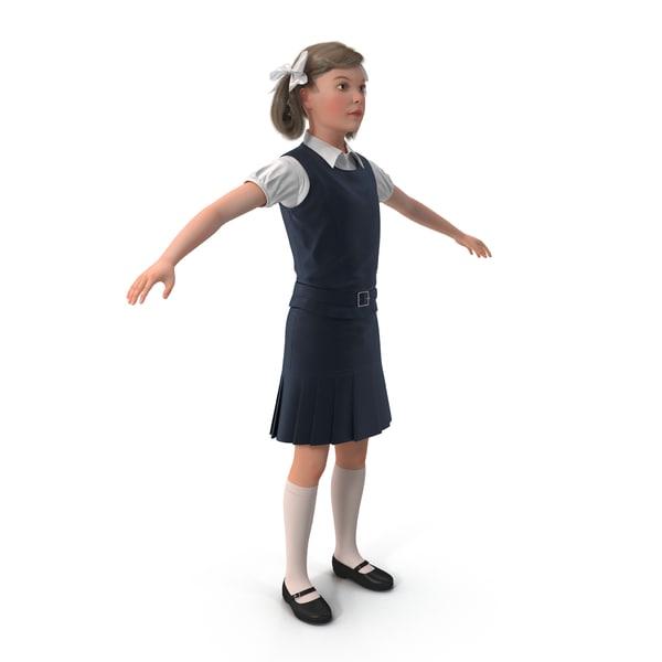 Little School Girl Rigged 3D Models