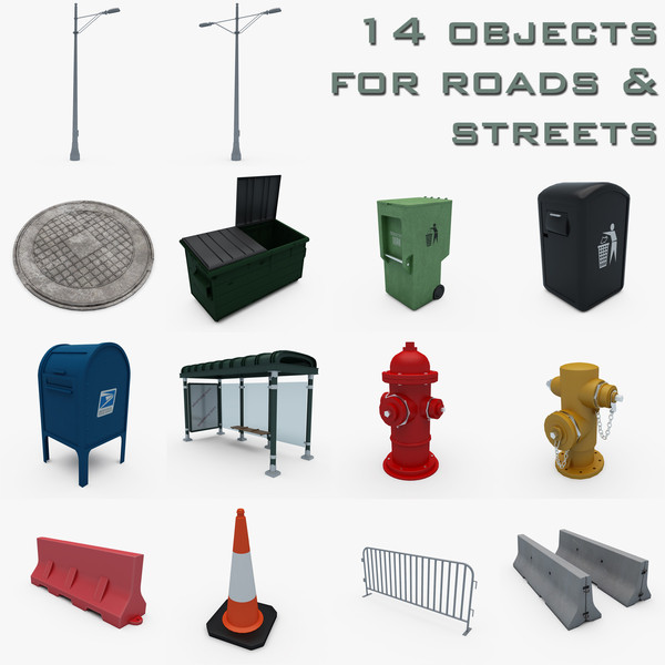 Street Elements Collection Texture Maps